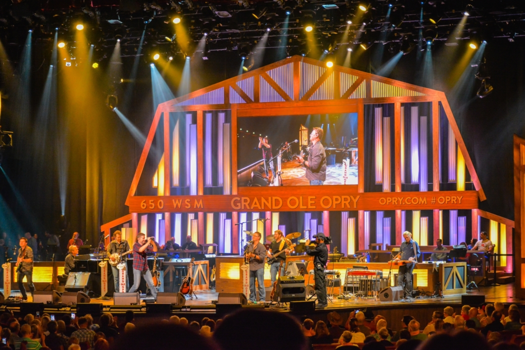 A night of country music stage concert at the Grand Ole Opry in Nashville, Tennessee.