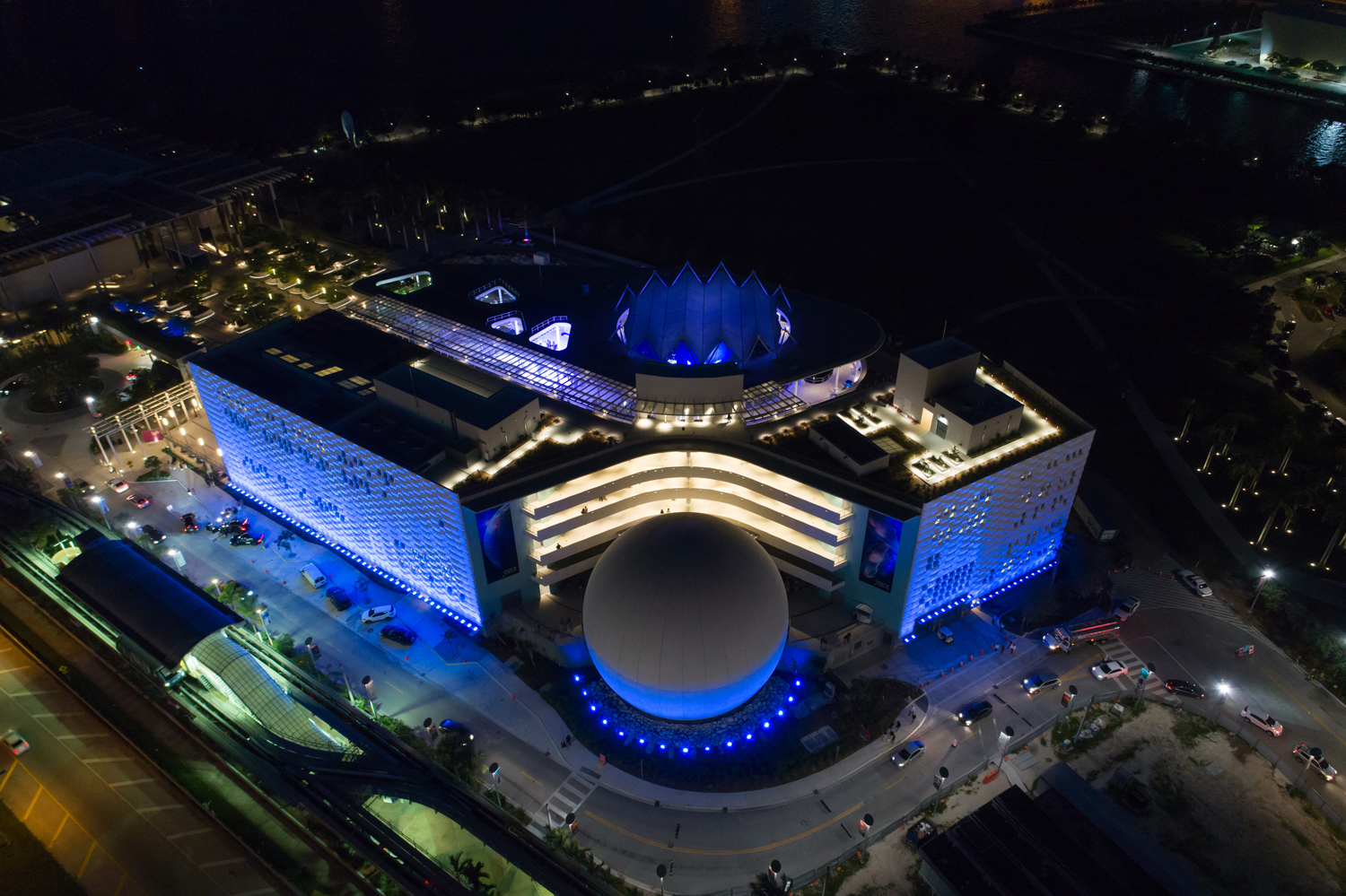 Aerial night image Phillip and Patricia Frost Museum of Science Downtown Miami