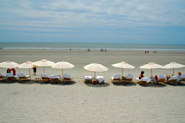 Umbrellas on beach at Kiawah Island near Charleston, SC