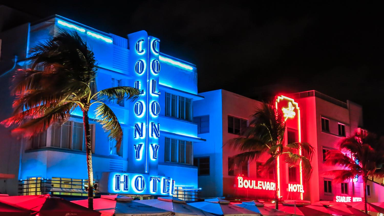 Art deco neon signs along South Beach, Miami.