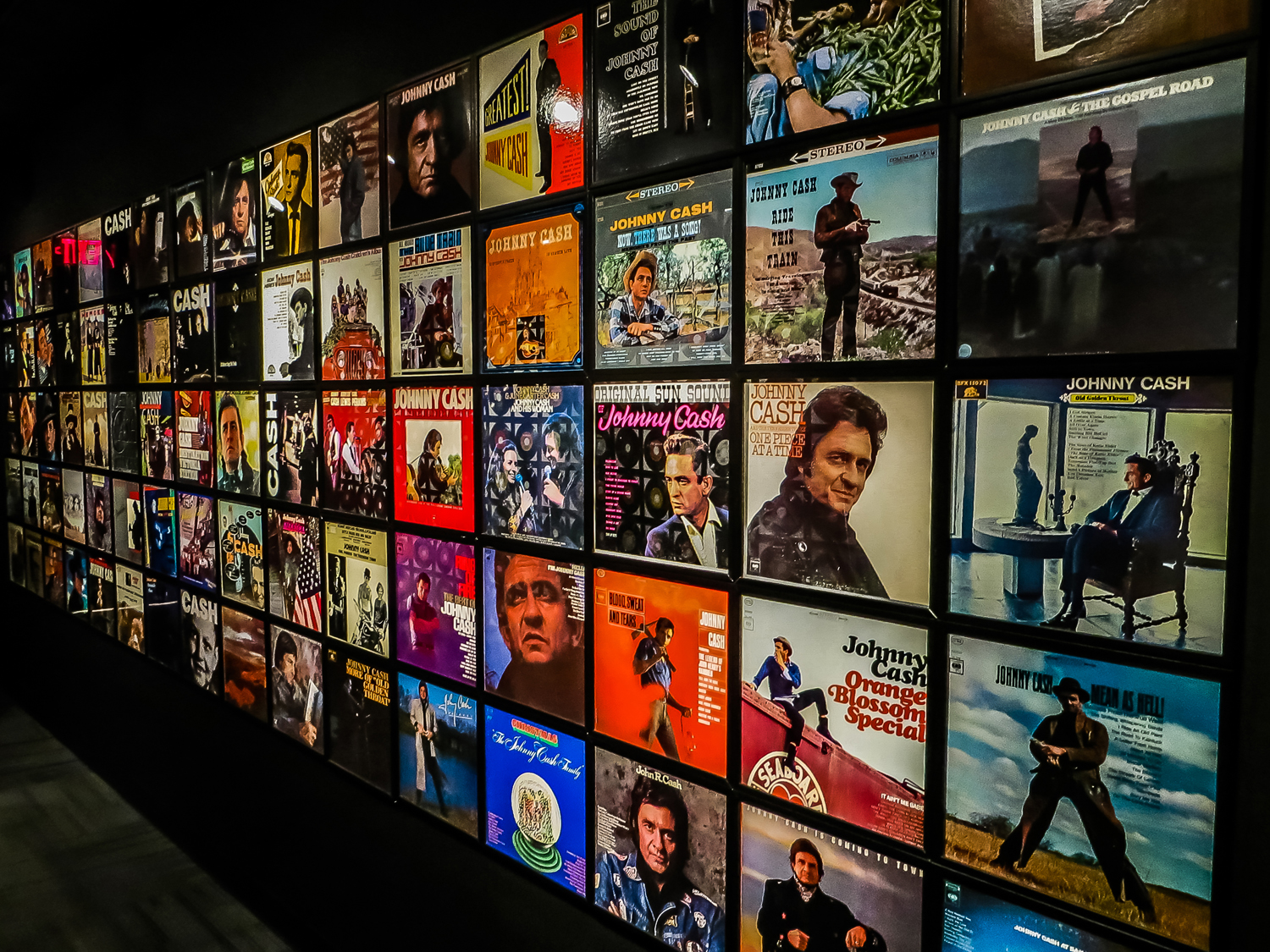Johnny Cash Museum Wall of Albums
